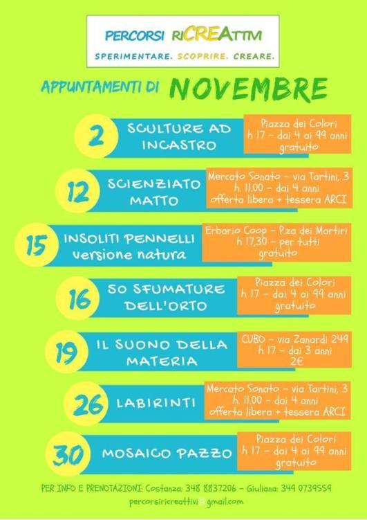 eventi novembre percorsi